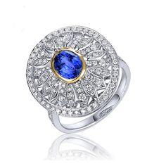 Jolie Bague Saphir Diamant or blanc 18 CT