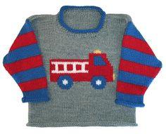 Ravelry: Fire Truck Roll Neck pattern by Gail Pfeifle, Roo Designs Baby Boy Knitting Patterns, Baby Sweater Knitting Pattern, Knitting Charts, Knitting For Kids, Knit Patterns, Hand Knitting, Baby Boy Sweater, Knit Baby Sweaters, Cardigan Bebe