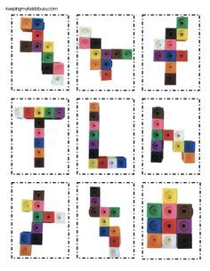 FREE snap cube pattern cards - perfect for STEM bins or preschool and kindergarten centers