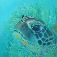 Shades of Blue Turtle — Art By Gizelle Ocean Turtle, Sea Turtle Art, Sea Turtles, Sea Turtle Quilts, Sea Turtle Painting, Zentangle, Coastal Art, Ocean Art, Beach Art