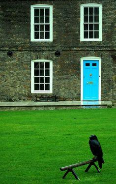 Blue door on brick building Bandanamom: April 2011 Painted Doors, Wood Doors, Famous Castles, Shutter Doors, House Design Photos, Unique Doors, Green Lawn, Door Knockers, Windows And Doors