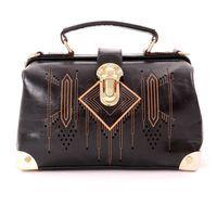 Black Aztec Pattern Top Handle Bag with Shoulder Strap. Beautiful.