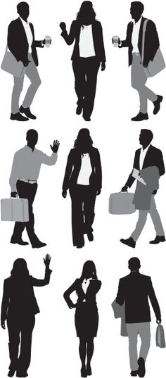 Vectores libres de derechos: Silhouette of business executives