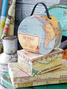 8 Nautical Map Decor Ideas by Anna Örnberg. Cover boxes…, lampshades, books, … 8 Nautical Map Decor Ideas by Anna Map Projects, Projects To Try, Map Crafts, Crafts With Maps, Travel Crafts, Decoupage, Karten Diy, Map Globe, Vintage Maps