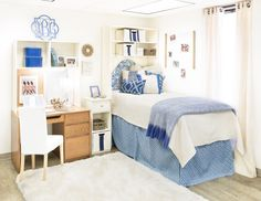 The Farron Cobalt Collection is a dreamy drop-dead gorgeous look featuring shades of blue and ivory. Dorm Life, College Life, Dorm Rooms, Kids Rooms, Chic Dorm, College Room Decor, Dorm Room Designs, Emotional Stress, Dead Gorgeous