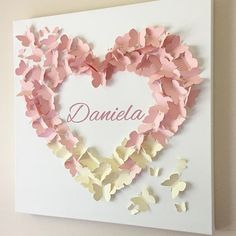 Personalized Blush Pink and Creme Ombre Butterfly Wall Art. Now available in your choice of size!  Hundreds of butterflies land from flight to create this beautiful personalized butterfly wall art in a tri-color ombre design in soft blush pinks and crème.  Personalized hand-painted name will be added to your piece. Please indicate desired name during checkout.  Shown in 20 x 20.  Matching ombre mobile also available!  This item is for decorative purposes ONLY. It is NOT a toy and SHOULD BE…