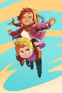 Time for the chibi couples series. First up.  Jason and Piper up in the skies!