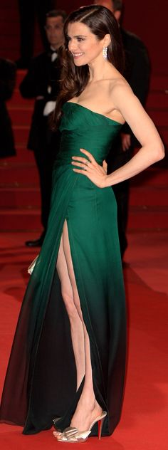 Rachel Weisz in a strapless jade Valentino at the 2009 Cannes Film Festival.