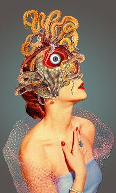 """surreal portrait conceptual art """"Freud vs Jung"""", collage by Eugenia Loli. Art Du Collage, Surreal Collage, Collage Artists, Mixed Media Collage, Surreal Art, Collage Portrait, Surreal Portraits, Art Pop, Art And Illustration"""
