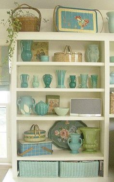 """shelves filled with lovely things - if you love this look you will enjoy Susan Borgen's """"T-Party Antiques"""" blog"""