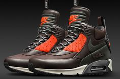 timeless design fe129 deb40 Nike Sportswear Air Max 90 SneakerBoot Waterproof - Velvet Brown   Black   Hyper  Crimson