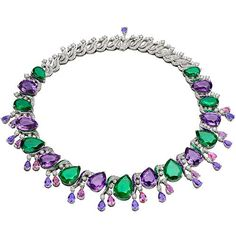 "Colour Treasures ""Ispirazioni Italiane"" necklace in white gold with 9 pear shaped, brillant step cut emeralds, fancy spinels, amthysts, buff top emeralds and pave diamonds: Bulgari"
