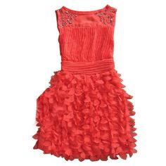 Watermelon Beading Round Neck Tank Chiffon Dress ($60) ❤ liked on Polyvore