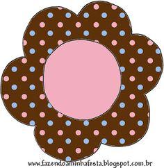 Poá Marrom Azul e Rosa – Kit Completo com molduras para convites, rótulos para guloseimas, lembrancinhas e imagens! |Fazendo a Nossa Festa