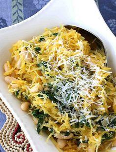 Spaghetti Squash with Spinach, Feta & White Beans