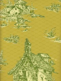 Yellow & Green toile paper. Reminds me of Tori Mellots kitchen/hallway from Domino