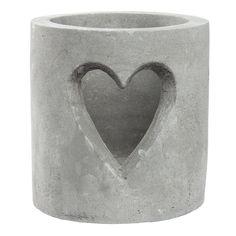 Grey Concrete Heart Pot Tea Light Candle Holder Wedding Table Decoration Gift
