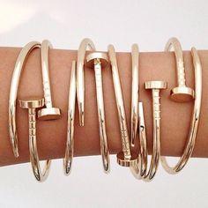 Stainless Steel Nail Style Love Bangle Bracelet
