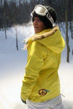 Jamie Anderson (USA) Snowboard -this goes perfectly with a Hidden Splendor Helmet Hugger with black cougar fur $48 at www.helmethuggers.com #fashion #skifashion #helmethuggers