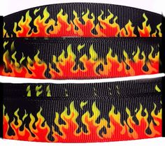 """Amazon.com: Custom & Fancy {.9"""" Inch Width - 3 YDS} 1 Pack of Wide """"Grosgrain"""" Ribbon for Hairbows, Decorations & Gift Wrap Made of Polyester & Nylon W/ Fierce Flaming Design [Red, Yellow, & Black Color]"""