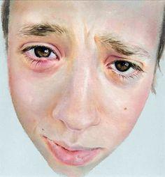 """Stye Eye"" - Sue Rubira, oil on wood, 2006 {contemporary figurative artist boy head child face portrait painting} suerubira.co.uk"