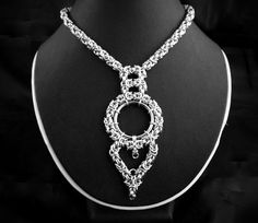 Necklace - Byzantine Wrapped O Ring - Chainmaille Focal - Collar - I'd leave the heart off, but otherwise really like...