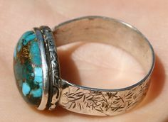 Handmade Turquoise Hammered Ring Sterling by IsaacWaltersDesigns, $40.00