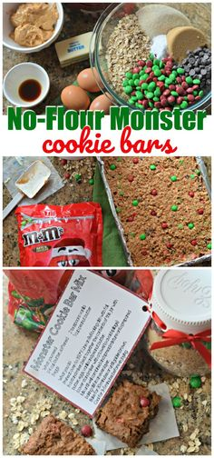 Time for holiday baking and gifting! Try The Best No Flour Monster Cookie Bars + A Cookie Bar Mix Gift Idea. The recipe and jar gift will wow friends and family!