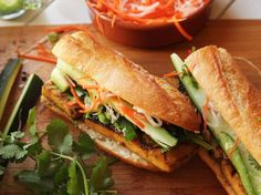 Grilled Lemongrass and Coriander-Marinated Tofu Vietnamese Sandwiches (Vegan Banh Mi)