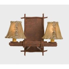 Steel Partners Bundle of Sticks 2 Light Double Light Wall Sconce Shade Color: Antique Rawhide, Finish: Mountain Brown