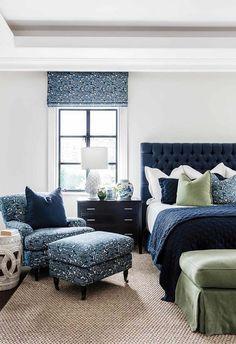 6 Gorgeous Hamptons Navy Bedrooms to Inspire - 6 navy Hamptons inspired bedrooms you will love. Bedroom designed by Lynda Kerry. Navy Bedrooms, Coastal Bedrooms, Master Bedroom Interior, Bedroom Furniture, Furniture Design, Navy Master Bedroom, Warm Bedroom, Teen Bedroom, Modern Furniture