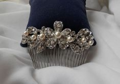 Bridal Hair Comb Swarovski Crystal, Pearl -- Wedding Accessory, Hair Accessory, Party HairComb, Hair piece (51C49). $19.00, via Etsy.