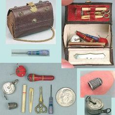 Antique Miniature Doll's Purse Sewing Etui & Tools * Circa 1880
