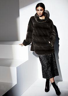 MICHAEL KORS Dyed Mahogany Sheared Mink Fur Pullover