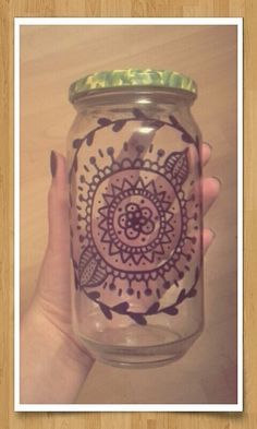 Mason jar diy with glass sharpies. Boho pattern.