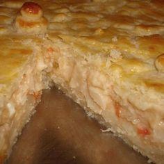 Receita de Torta Cremosa de Palmito - 1 gema para a receita e 1 gema para pincelar, 1 colher (chá) de sal, 200g de iogurte natural, 150g de manteiga ou marg...