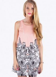Light Pink Sleeveless Mini Shift Dress with Bird Detail #lightpink #sleeveless #minidress #birddetail #ustrendy