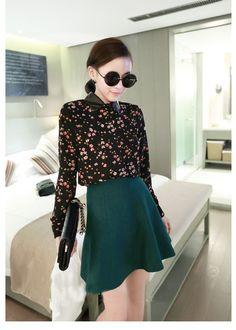 Women Vintage Chiffon Shirt  Top Blouse Black Floral