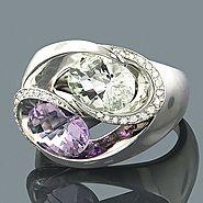 Gemstone Jewelry: Peridot Amethyst Diamond Ring .54ct