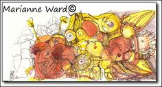Bzzzzz  watercolors  4x9 inches   for sale at www.juniperbean.etsy.com  12 bucks!