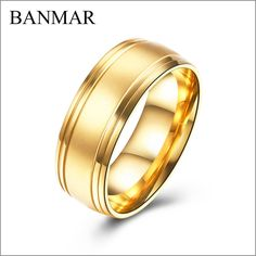 Banmar Couple Rings For Women Men Gold Color Stainless Steel Rings For Engagement Party Jewelry Wedding Bands Mens Band Rings Rings For Men Mens Rings Fashion