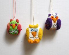 Needle felted owl hanging ornament set of 3 home decor by nodsu, $30.00