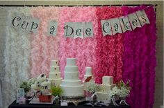 Cup a Dee Cakes Blog: This Ain't Your Mama's Wedding Show Booth - Ombre Feather Boa Backdrop