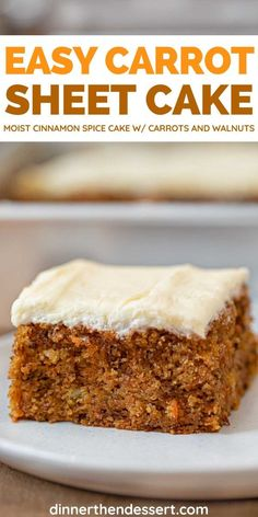 Carrot Sheet Cake is a super easy, moist, cinnamon spice cake ready in under an hour! Low Fat Carrot Cake, Baby Carrot Recipes, Carrot Spice Cake, Easy Carrot Cake, Spice Cake Mix, Carrot Cakes, Sheet Cake Recipes, Cake Mix Recipes, Deserts