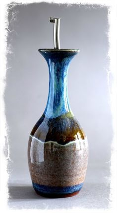 Olive oil decanter. Tear drop. Large. Summer tide. Pottery, ceramics.