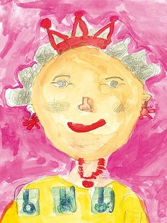 Portrait of Queen Elizabeth II by Sonny Ku, highly commended, years category Queen Elizabeth Portrait, Queen Elizabeth Ii, Art Activities For Kids, Eyfs Activities, Activity Ideas, Kids Crafts, Drawing For Kids, Painting For Kids, Elizabeth Ii Children