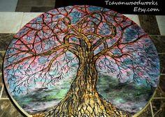 tree of life painting, pyrography, Hidden Heart Tree, woodburned tree, tree wall art, acrylic tree painting, abstract tree art