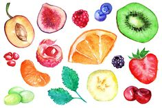 art, watercolor, vector, fruit, berry, set, clip, isolated, kiwi, strawberry, blueberry, blackberry, raspberry, orange, banana, grape, mint, mandarin, cherry, lychee, fig, plum, pomegranate, red, green, yellow, half, slice, food, natural, plant, juicy, vegetarian, organic, health, diet, vitamin, isolate, tasty, exotic, ingredient, graphic, colorful, illustration, design, drawn, sketch, artwork, paint, aquarelle