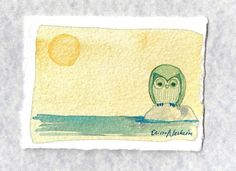 Little River original owl watercolor by ElissaSueWatercolors, $15.00