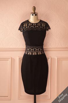 Le cuir et la dentelle sont les alliés des femmes discrètes.  Leather and lace are allies of discreet women. Lauréanie - Black lace and faux-leather dress www.1861.ca